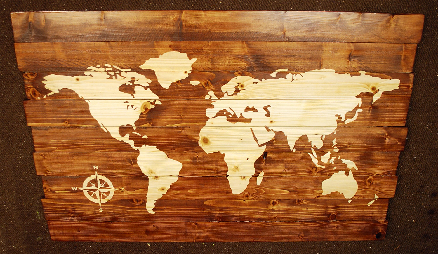 Extra Large World Map with Compass Stained Wall Art on Solid Wood ...