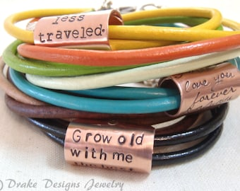 Inspirational Quote womens leather bracelet personalized girlfriend gift for her wife birthday gift