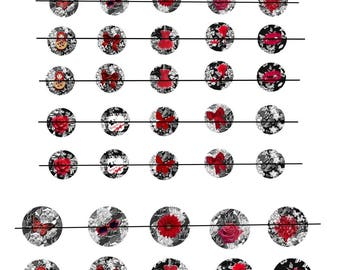 """Digital images """"red and black n ° 2"""" round 18 and 25mm"""
