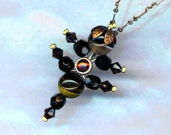 Beaded Scorpio Pendant& Antiqued Silver Chain, Zodiac Jewelry, Scorpio Necklace, Gemstone and Crystal Beads Zodiac Necklace