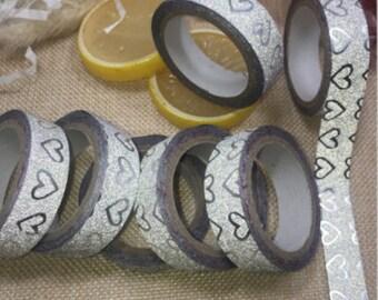 Masking tape, masking tape, silver hearts pattern, 5 M x 15 mm