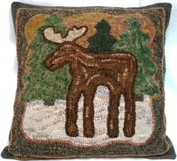 "Rug Hooking PATTERN, Pinewoods Moose, 16"" x 16"", J865, Primitive Rug Hooking Pattern, Northwoods Design"