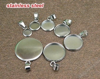 30pcs of 16mm stainless steel cap pendant with drop hoop,Cabochon base setting charms (9 sizes to select)