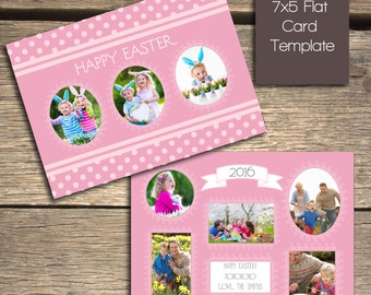 INSTANT DOWNLOAD - Polka Dot Easter Card - Photoshop Template - E101