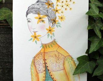 """Original watercolour, ink and pencil on paper, """"Summer Jacket"""" marmeecraft yellow woodland illustration"""