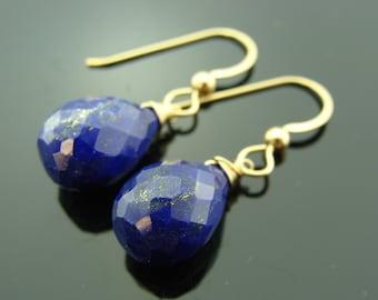 14K Solid Gold Lapis Lazuli Drop Earrings