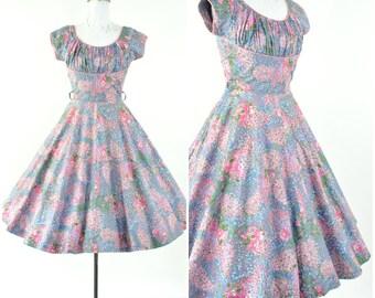 "1950's ""Roberta Lynn"" dainty floral day dress/ sz XS (B 32""-34""  W 24"") fit and flare/ Vintage 50's cotton sun dress / blue, pink, green"