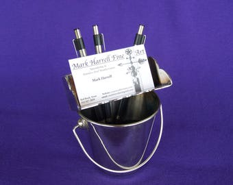 Stainless Steel Business Card and Pen Holder. Polished.