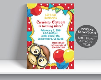 INSTANT DOWNLOAD - Curious George Boy Birthday Invitation, Monkey Birthday Invite, Boy Curious George Birthday Party Invite,