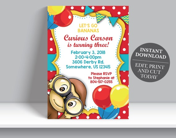Instant download curious george boy birthday invitation bookmarktalkfo Images