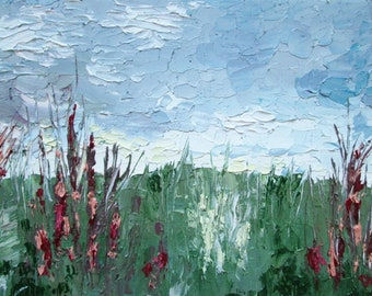 Palette knife painting, landscape painting, small painting, oil painting, palette knife art, original painting, texture painting, nature art