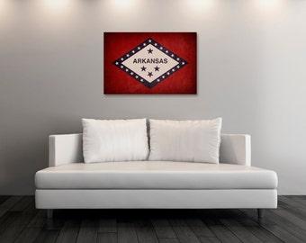 Vintage Arkansas Canvas Print, Arkansas Flag,  Arkansas Flag Art, Arkansas Wall Art, Wall Decor, State Poster, Decor [PP-004C]