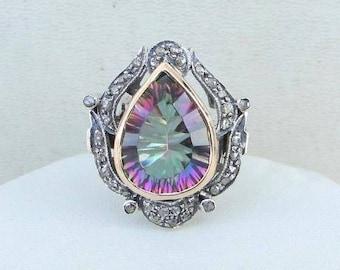 Victorian Diamond & Mistik Topaz 14 K Gold Silver Ring