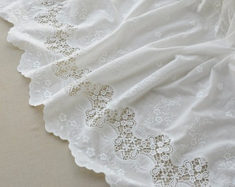 off white Lace Fabric, cotton Embroidered lace fabric