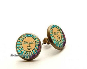 Mystic Tarot Sun Stud Earrings, Sun Earrings, Tarot Earrings, Sun jewelry, Hypoallergenic Earrings