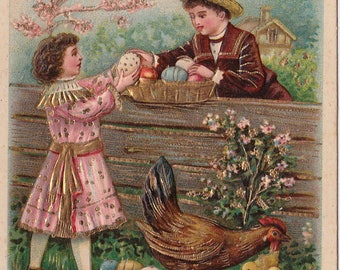 Antique postcard Easter Children Collecting Eggs Chicken Chicks LOVELY