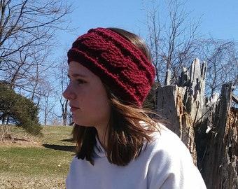 Burgundy Crochet Chorded Earwarmer, Dark Red Headband, Crochet Earwarmer