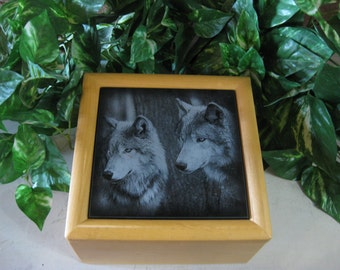 Engraved  Wolves Jewlery Box