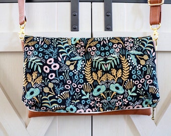 Gold and blue botanical crossbody *Rifle Paper Co.