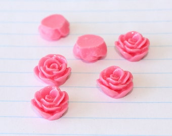 10 SMALL ROSE Cabochons - 12mm - Fuchsia Pink Color