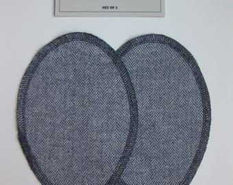 Elbow Patches - Navy Blue and White Herringbone - Set of 2