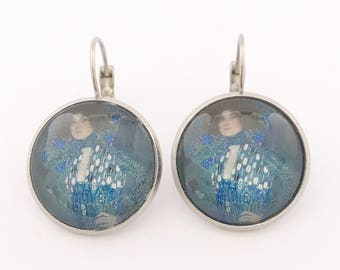 Elegant Earrings, Dangle Earrings, Blue Earrings, Girlfriend Gift, Gift for Girlfriend, Drop Earrings, Art Earrings, Art Nouveau, Klimt