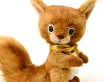 Squirrel Rani 6.1 in, artist teddy squirrel, artist squirrel, teddy, unique, collectible toy, ooak teddy, handmade teddy, stuffed animal