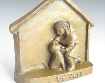 Patron of Dogs and Dog-Lovers: St. Roch, Handmade Statue (Small Size)