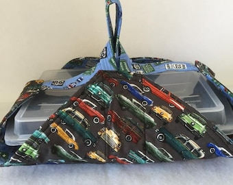 Thermal, Insulated, Casserole Carrier with Old Cars