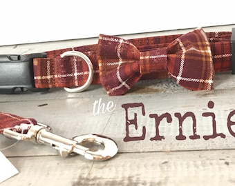 Plaid Dog Collar, DOG COLLARS, The ERNIE, Dog Collars, Brown Plaid Dog Collar, Dog Collars for Boys, Boy Dog Collar,