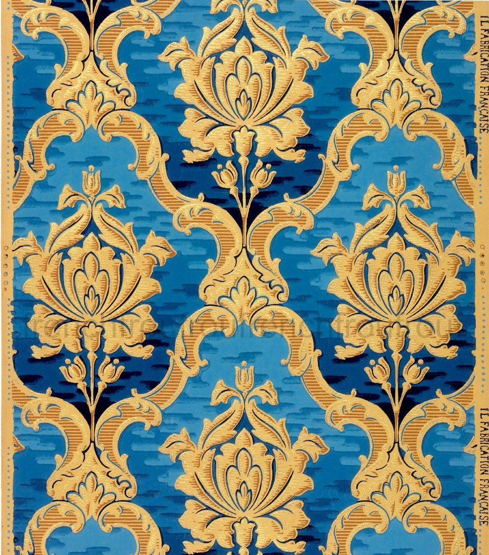 antique french wallpaper design rich gold blue roses in louis. Black Bedroom Furniture Sets. Home Design Ideas