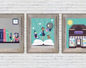 Girl Nursery Decor, Girl Nursery Prints, Girl Nursery Wall Art 8x10 Storybook Nursery Digital Prints | Instant Download Set of Three