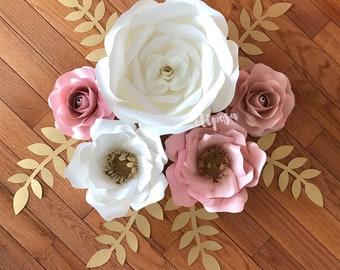 5 pc Paper Flower Set, Nursery Decor, Bedroom, Customize your colors