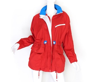 Sz M 80s 90s Oversize Red Anorak Jacket - Vintage Red White and Blue Baggy Women's London Towne Windbreaker Parka