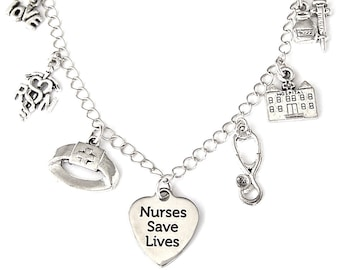 Nurse charm bracelet or nurse necklace, RN Registered Nurse, health care professional charm necklace, medical jewelry, gift for nurse