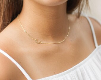 Tiny Moon Necklace | Crescent Necklace | Gold Moon Necklace | Crescent Moon Necklace | Layering Necklace | Dainty Necklace | Bridesmaid Gift