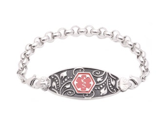 Medical ID Stainless Steel Rolo Strand Filigree Bracelet - 6 Pre-Engraved Conditions