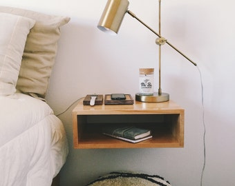 Solid Birch Wood Floating Nightstand or End Table