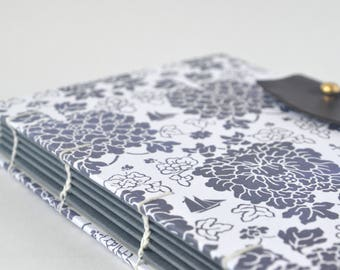 White & Navy Nautical Floral Journal, Hand Bound Coptic Journal, Handmade Journal with Reclaimed Leather and Brass Button