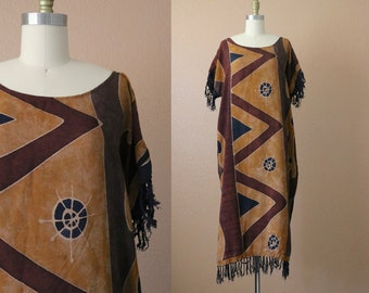 hand painted batik fringe dress