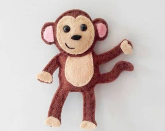 Monkey Magnet, Felt Monkey Magnet - Monkey Gift, Monkey Fridge Magnet, Felt Fridge Magnets