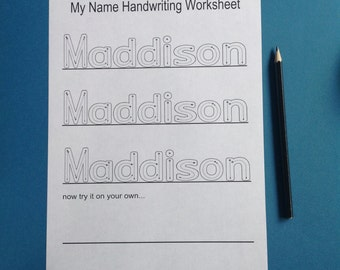 Personalised my name handwriting worksheets - childcare / teaching resource   - print yourself -childcare / teaching resource