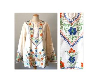 Vintage 60s Flower Power Hippie Top Tunic M Angel Sleeves Dashiki