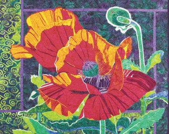 """Poppy applique art quilt pattern by Brenda Yirsa for Bigfork Bay Cotton Company - finished size 35.5"""" x 29"""""""