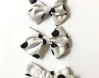 Black and White Dot Bow