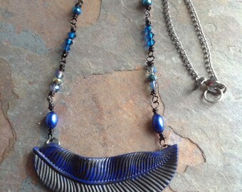 Black and Blue feather necklace with pearls and crystal dainty pretty