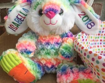 Rainbow Bunny, Rainbow Rabbit, Easter Bunny, Easter Rabbit, Personalized, Monogram, Plush Bunny, Stuffed Bunny