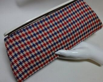 Blue/Red/Cream Houndstooth Clutch