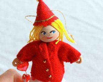 Valentine Art Dolls and Miniatures Receive My Heart, Hanging Ornament, Valentine Decoration, Handmade Felt Valentine Doll