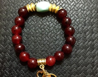 Red jade with Amazonite/ peace, heart, gold bracelet